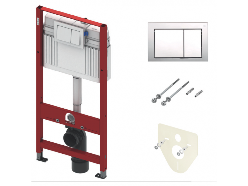 WC rėmas potinkinis TECEprofil Base komplektas su chromuotu klavišu